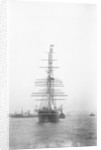 'Cutty Sark' (1869) being towed by tug 'Muria' on the Thames by unknown