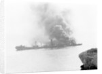 'War Knight' (Br, 1917), on fire in Freshwater Bay, Isle of Wight by unknown