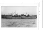 A starboard broadside view of the tanker 'British Prestige' (1931) lying in port, alongside other vessels by unknown
