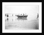 Five fishermen carrying a Sheringham crab boat up the beach, assisted by three boys, at Lowestoft by Smiths Suitall Ltd.