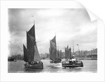The trawler 'LT372' under sail with 'LT205' in tow of the paddle tug 'Imperial' (1879) leaving the harbour at Lowestoft, Suffolk by Smiths Suitall Ltd.