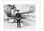 Earl David Beatty standing on the quarterdeck of his flagship, HMS 'Queen Elizabeth' as Admiral of the Fleet. by unknown