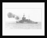 A port quarter view of 'Warspite' (1913), bombarding the French coast by unknown