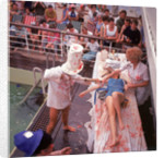 Macabre comic entertainment aboard an unspecified cruise ship, with a female passenger prostrate on a bloody slab - perhaps a variant of the Crossing the Line (the Equator) ceremony? by Marine Photo Service