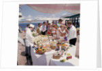 Fine weather allows passengers to enjoy a casual buffet on deck - no need to dress for dinner on this occasion! by Union Castle Line Collection