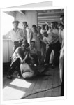 A group of off-duty crew from 'Carinthia' (1925) pose with a captured shark on deck by Marine Photo Service