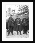 Gendarmes holding back the throng of Muslim men at quayside, Algiers, Algeria, 1925 by Marine Photo Service
