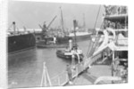 'Aquitania', 'Alaunia' and 'Orford', with the tugs 'Canute' and 'Wellington' at Southampton by Marine Photo Service