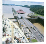 A view from the bridge of 'Gripsholm' (1957) or 'Kungsholm' (1966) of the Pedro Miguel Lock, Panama Canal, with the Miraflores Lock in the background. by Marine Photo Service