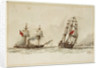 Paddle steamer and warship off a coast by Anonymous