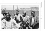 The musical crew of the 'Triumph of Righteousness' sailing into Mutrah Harbour, Oman by Alan Villiers