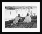 Sheikh Ahmad bin Jabir al-Sabah, Ruler of Kuwait, seated with the British Political Agent, Major A. C. Galloway by Alan Villiers