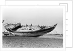 Decorated stern and deck hull of a large sambuk, beached at Aden by Alan Villiers