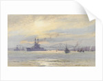 American battleship in the Firth of Forth by Alma Claude Burlton Cull