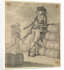A Marine leaning on a pile of bales, with a seaman carrying kegs in the background by Gabriel Bray