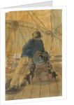 Seaman leaning on a gun on the 'Pallas' by Gabriel Bray