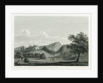 Country scene with mountain range and two figures by William Alexander
