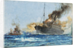 'Carmania' sinking 'Cap Trafalgar' off Trinidad, 14 September 1914 by Charles Dixon