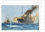 'Carmania' sinking 'Cap Trafalgar' off Trinidad, 14 September 1914 by Charles Dixon