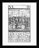 1588 Armada Playing Cards, VI of Diamonds. 'Arthur Ld Grey Sr Francis Knolles, Sr John Norris, Sr Richard Bingham, Sr Rog: Williams & others in a Councell of War, consulting how ye land service should be Ordered' by unknown