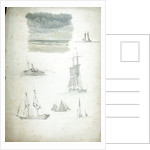 Study of Sea and Sky, Sailing Ships and a Paddle Steamer by William Lionel Wyllie