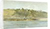 A village on the coast seen from the sea, Northern France by William Lionel Wyllie