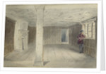 View of an unfurnished room with ornate ceiling by Edward William Cooke