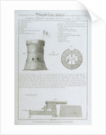 Elevation & lan of Martello Tower Corsica, and a Profile of the Eighteen Pounder mounted on its Carriage & Slide From original drawings taken on the Spot in the possession of I MacArthur Esqr by James Fittler