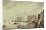 Greenwich Hospital from the NW, and boating on the River Thames by Samuel Howitt