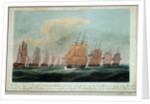 Theseus' leading the squadron near the Isle of Grouaisto face the Brest fleet, 24 February 1809 by J. Beresford