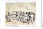 Dolby's sketches in the Baltic. Mr Lucas throwing the burning shell off the deck of the Hecla at Bomersund by E T Dolby
