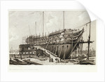 The 'Nelson' on the Stocks, building at Woolwich in the Year 1814 by L. Francia