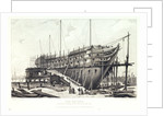 The 'Nelson' on the stocks, building at Woolwich in 1814 by L. Francia