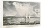 HM Brig 'Frolic' entering the harbour of Rio Janerio, during a Pampeiros. Sugar Loaf Mountain. Cochorvada Mountain by G.E. Madeley