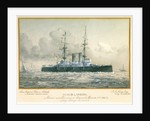 HMS 'London' Named and Launched at Portsmouth, September 21st 1899, by Lady George Hamilton. Rear Admiral Pelham Aldrich, Admiral Superintendent. J.A. Yates, Esq, Chief Constructor by H. Coish