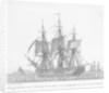 La Fregate des Etats-unis d' Amerique, le President venant d'appareiller, avec des ris dans les Huniers. Plate 13 in Collection de Toutes les Especes de Batimens.... 2eme Livraison by Baugean