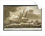 The 'Arethusa' frigate scudding under Foresail in a storm, with a view of Plymouth, and Maker Church at a distance by William Allen