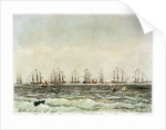 Spithead, 19 June 1845. 'Albion', 'Superb', 'Queen', 'Rodney', 'Trafalgar', 'Victoria & Albert', 'Canopus', 'St Vincent', 'Vanguard' by M. Grove