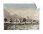 Spithead, 23 June 1845. 'Albion', 'Queen', 'Superb', 'Rodney', 'Trafalgar', 'Canopus', 'St Vincent', 'Victoria & Albert', 'Vanguard', 'Black Eagle' by M. Grove