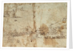 Study of a Mediterranean xebec and studies of ship sterns by Abraham Casembrodt