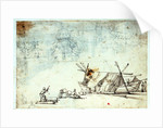 Study of men working on Mediterranean craft with studies of a warship by Abraham Casembrot