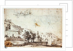 Landscape and view of village (reverse) by Abraham Casembrot