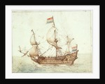 A Dutch three-masted ship under sail by Cornelis Verbeeck