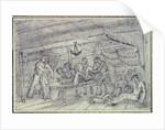 Scene below decks showing man having leg amputated by unknown