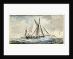A Dutch gaff-rigged vessel, with a cutter beyond, off the English coast by Charles Gore
