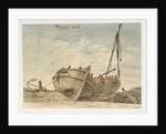 Dover Beach 1815. Three fishing boats by William Payne