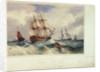 A ship lying to by Samuel Owen