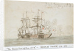 The Battle of the Glorious First of June, 1794; the 'Marlborough' engaged with two French ships (No.2) by Nicholas Pocock