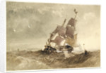 A brig in a sea with a distant coast by James Chrisholme Gooden