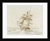 Merchant ship shortening sail in a fresh breeze by British School